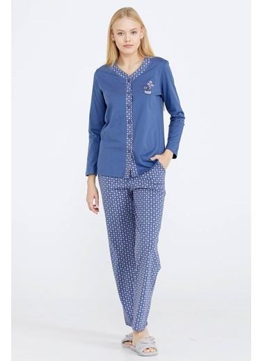 Sementa V Yaka Düğmeli Kadın Pijama Takım - Indigo İndigo